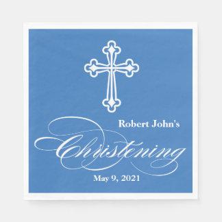Elegant Cross Christening Personalized Napkin Disposable Napkin