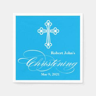 Elegant Cross Christening Personalized Napkin Paper Napkins
