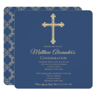 Elegant Cross Confirmation Invitation