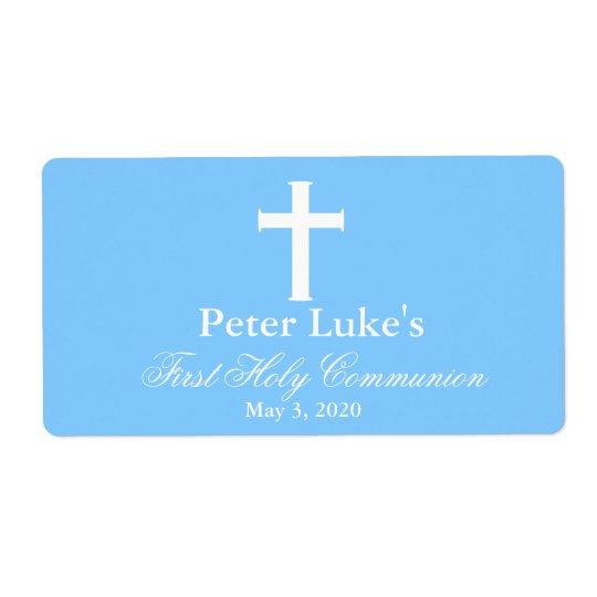 Elegant Cross First Communion Favour Labels