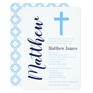 Elegant Cross First Holy Communion Invitation