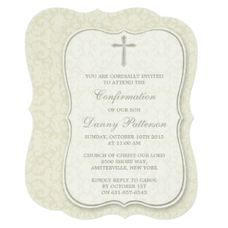 "Elegant Cross Holy Communion Or Confirmation 5"" X 7"" Invitation Card"