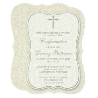 "Elegant Cross Holy Communion Or Confirmation 5"" X 7"" Invitation Card"