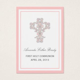 Elegant Cross in Pink Favor Tag Card
