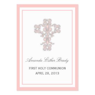 Elegant Cross in Pink Favor Tag Card Large Business Card