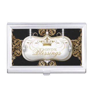 Elegant Crown Fashion Jewelry Black Gold Business Card Holder