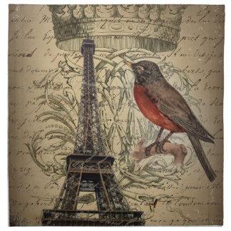 elegant crown robin eiffel tower paris Vintage Printed Napkins