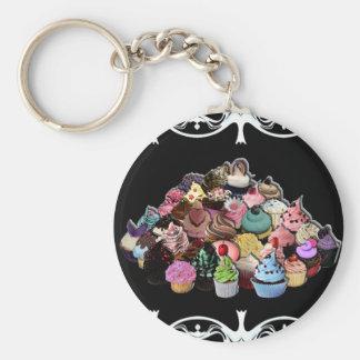 Elegant Cupcakes (Black) Keychain