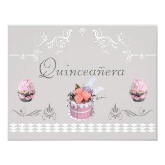 "Elegant Cupcakes Pink & Grey Quinceanera 4.25"" X 5.5"" Invitation Card"