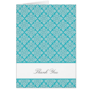 Elegant Curacao Blue Damask Thank You Card