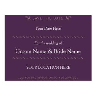 Elegant Curl Purple Save the Date Postcard