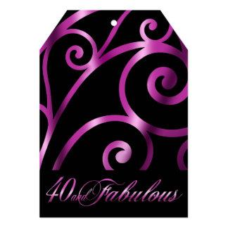 Elegant Curlicue Swirl 40th Birthday black purple Card