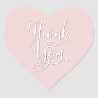 Elegant Custom Color Pink Thank You Heart Stickers
