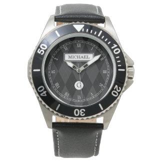 Elegant Custom Monogram Black Argyle Face Watch