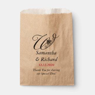 Elegant Custom Monogram W | Wedding Thank You Favour Bag
