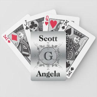 Elegant Custom Monogrammed Metal Look Personalized Bicycle Playing Cards
