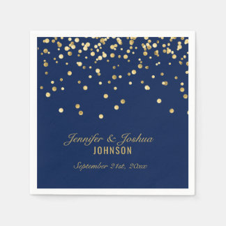 Elegant Custom NAVY BLUE Gold Confetti Wedding Disposable Napkins