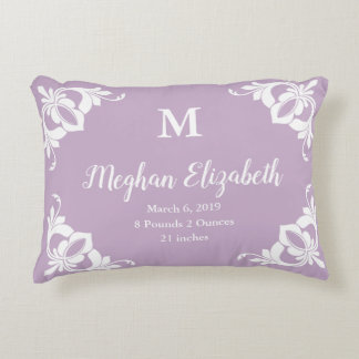 Elegant Custom Pale Purple and White Girl's Accent Pillow
