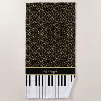 Elegant Custom Piano Keys with Gold Quatrefoil Beach Towel