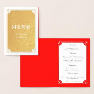 Elegant Custom Red and Gold Wedding Dinner Menu