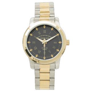 Elegant Custom Retirement Commemorative Black Gold Watch