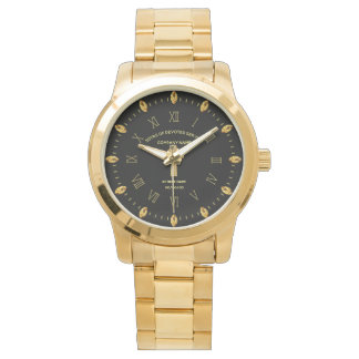 Elegant Custom Retirement Commemorative Black Gold Watch