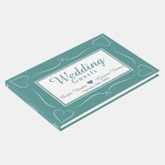 Elegant Custom Teal Wedding Heart Guestbook