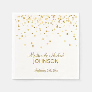 Elegant Custom White Gold Confetti Wedding Disposable Napkin