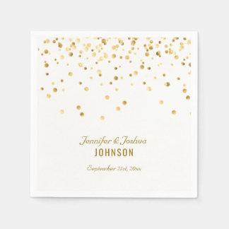 Elegant Custom White Gold Confetti Wedding Paper Napkin