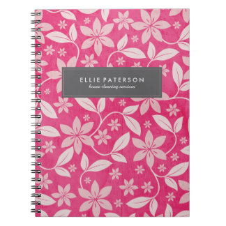 Elegant Customizable Pink Floral Note Book