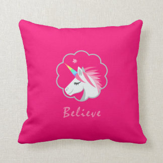 elegant cute believe in unicorns emoji throw pillow