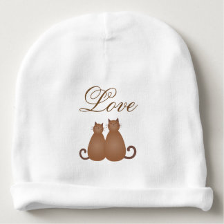 Elegant Cute Cat Couple in Love Whimsical Script Baby Beanie