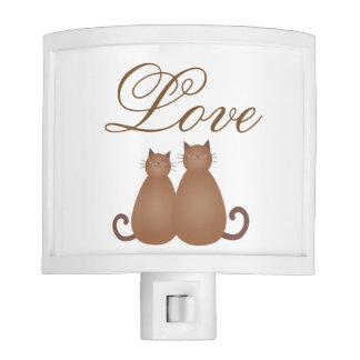 Elegant Cute Cat Couple in Love Whimsical Script Night Light