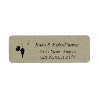 Elegant cute funny cat linen return address label