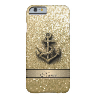 Elegant cute girly faux glitter anchor monogram barely there iPhone 6 case