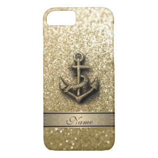 Elegant cute girly faux glitter anchor monogram iPhone 7 case