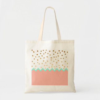 elegant cute gold foil polka dots mint and pink