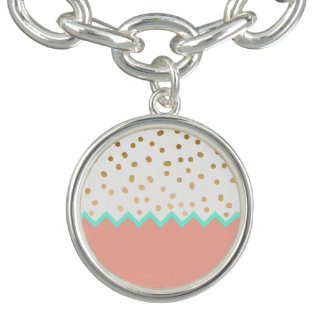 elegant cute gold foil polka dots mint and pink bracelets