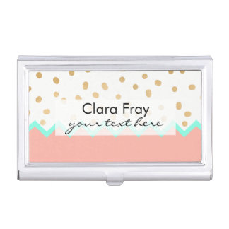 elegant cute gold foil polka dots mint and pink case for business cards