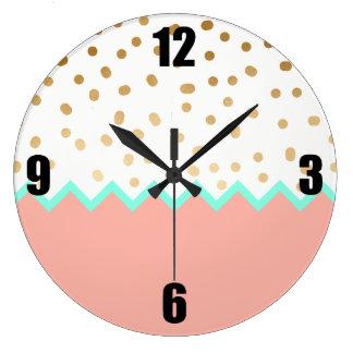 elegant cute gold foil polka dots mint and pink clock