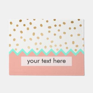 elegant cute gold foil polka dots mint and pink doormat