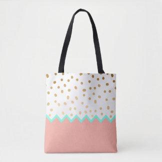 elegant cute gold foil polka dots mint and pink tote bag