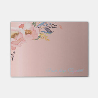Elegant Cute Stylish Girly  Watercolor Flowers Post-it Notes