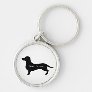 Elegant dachshund best friend silhouette key chain