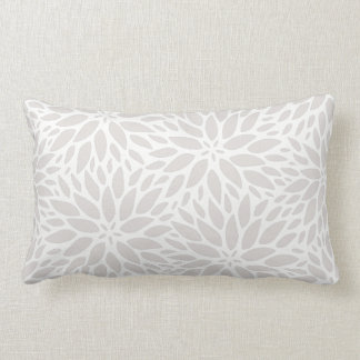Elegant Dahlias Gray & White Lumbar Pillow