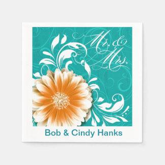 Elegant Daisy Scroll Flourish Mr. & Mrs. Disposable Napkins
