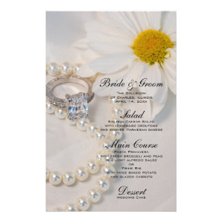 Elegant Daisy Wedding Menu Personalized Stationery