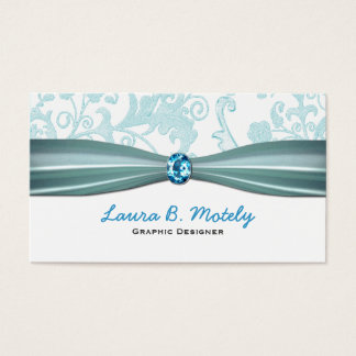 Elegant Damask and Aquamarine Business Card