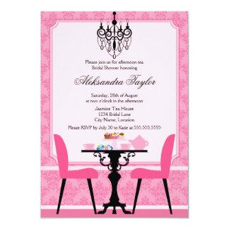 "Elegant Damask and Chandelier Tea Party Invitation 5"" X 7"" Invitation Card"