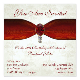 Elegant damask and Ruby Invitations